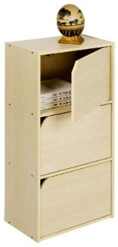 Furinno Pasir 3 Tier Bookcase with Door with out Handle, Steam Beech