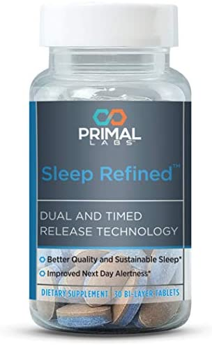 Primal Labs SleepRefined Sleep Aid for Stress Relief & Anxiety Relief, Non-Habit Forming Sleeping Pills with Magnesium Supplement, Time Release Melatonin Sleep Aids for Adults Extra Strength, 30 Count