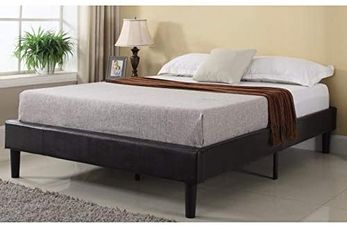 Divano Roma Furniture Madison Home Bonded Faux Leather Wood-slatted Modern Platform Bed Queen, Dark Espresso Brown