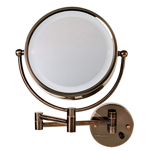 Ovente Wall Mounted Double sided 180 extendable arm Vanity Makeup Mirror 8.5 Inch 1X with full view 7X Magnification with White LED light, and 360 Degree Rotation, Antique Bronze MPWD3185AB1X7X