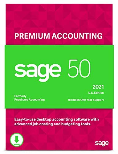 Sage 50 Premium Accounting 2021 U.S. 1-User Small Business Accounting Software [PC Download]