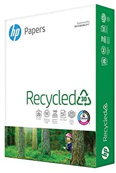 HP Paper Printer Paper 8.5×11 Recycled30 20 lb 30% postconsumer recycled 1 Ream 500 Sheets 92 Bright Made in USA FSC Certified Copy Paper Compatible 112100R, White