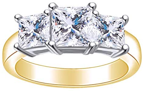 1.95 Carat (Cttw) Princess Shape White Natural Diamond Three Stone Engagement Ring in 14k Solid Gold