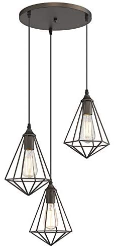 Zeyu 3-Light Cluster Pendant Light, Industrial Chandelier Hanging Light for Kitchen Dining Room, Oil Rubbed Bronze Finish with Metal Cage Shade, ZY04-3 ORB