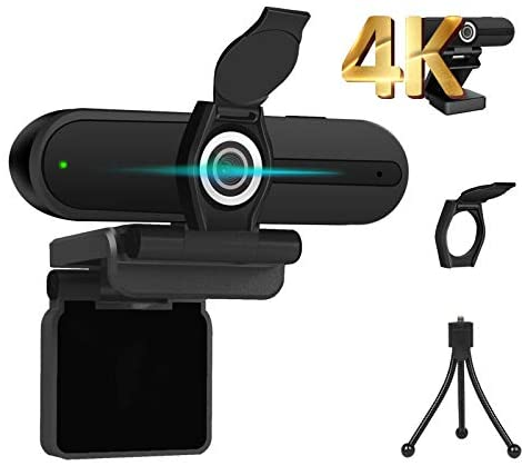 4K Webcam, 8MP Computer Web Camera with Privacy Shutter, 75 Degree Wide Angle, Laptop USB Streaming 4K UHD Webcam with Microphone for Desktop PC LCD Monitor/Mac Video Conference/Calling/Record