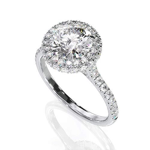 KEYZAR Engagement Rings for Women, Handcrafted Halo with 1.5ct Large Lab Diamond and Diamonds Pave, 14k or 18k Real White Gold, Wedding Promise Ring