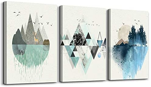 Abstract Mountain in Daytime Canvas Prints Wall Art Paintings Abstract Geometry Wall Artworks Pictures for Living Room Bedroom Decoration, 16×24 inch/piece, 3 Panels Home bathroom Wall decor posters