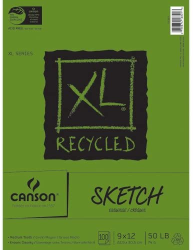 Canson XL Recycled Sketch Paper Pad 9″X12″, 100 Sheets