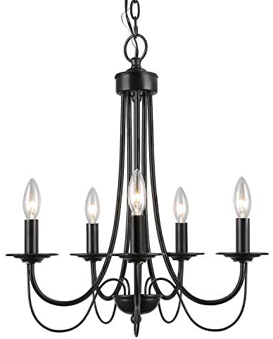 LALUZ Black Chandelier Farmhouse Rustic 5-Light Fixture with 2-Layer for Dining & Living Room, Bedroom, Kitchen and Foyer
