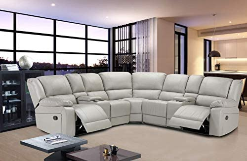 JOCESTYL Reclining Sofa Set Home Theater Sectional Sofa Set, with 2 Consoles with Cup Holders for Living Room, 7pcs (PU Grey)