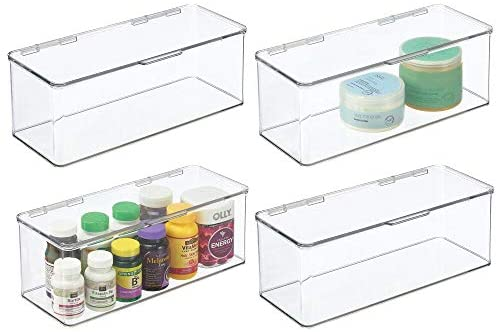 mDesign Plastic Stackable Storage Container Bin Box, Hinged Lid – Bathroom Cabinet Organizer for Toiletries, Makeup, First Aid, Hair Accessories, Bar Soap, Loofahs, Bath Salts – 4 Pack – Clear