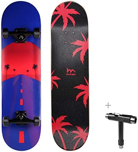 M Merkapa 31″ Pro Complete Skateboard 7 Layer Canadian Maple Double Kick Deck Concave Skateboards with Tool