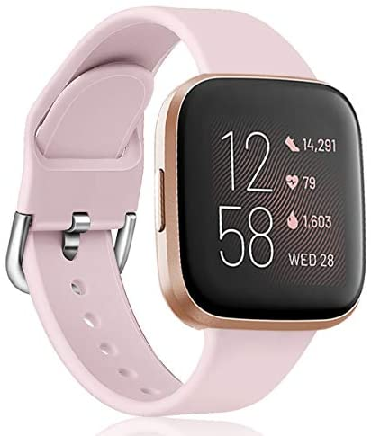 Soft Bands Compatible with Fitbit Versa SmartWatch, Versa 2 and Versa Lite SE Watch for Women Men Sport Waterproof Replacement Wristbands, Small and Large