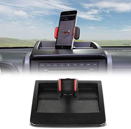 CheroCar JK Cellphone Dash Multi-Mount Phone Holder Stoage Tray System Kit fits for 2007-2011 Jeep Wrangler JK JKU, Organizer Box Interior Accessories, Black/Red