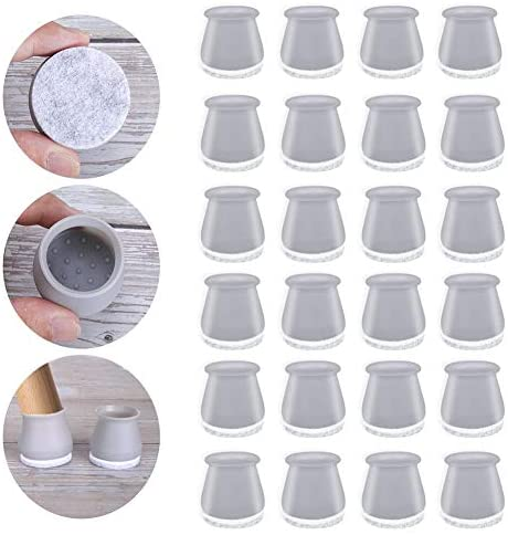 Silicone Chair Leg Floor Protectors, 32 PCs Chair Leg Covers with Felt Bottom Protector Pads, Protect Your Floors from Scratches and Reduce Noise, Gray Anti-Slip Furniture Leg Caps