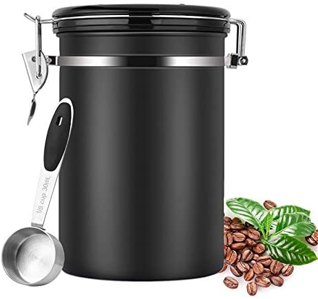 Stainless Steel Coffee Bean Container with Release Valve Date Plate and Measuring Spoon, Sealed Storage to Keep Food Fresh, Large(black)