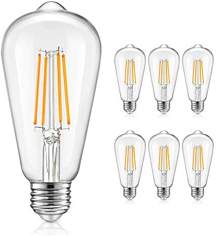 Vintage LED Dimmable Edison Light Bulbs 100W Equivalent, 1200Lumens, E26 Base LED Filament Bulbs, 2700K Warm White, ST64/ST21 Antique Clear Glass Style for Home, Reading Room, Bathroom, 6-Pack