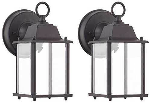 WISBEAM Outdoor LED Wall Lantern, Wall Sconce as Porch Lighting Fixture, Dimmable 10W 800 Lumen, 5000K Daylight White, Aluminum Housing Plus Glass, Wet Location Rated, ETL Qualified, 2-Pack