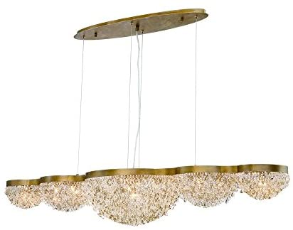 Eurofase Mondo Clustered Orb Linear Chandelier, Antique Gold Finish, Cognac and Clear Crystals, 15 G9 Light Bulbs, 59 Inches Long-Model 31831-017