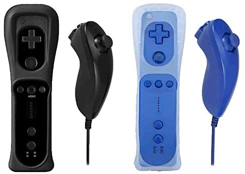 Poulep 2 Packs Nunchuck and Remote Controller for Wii Wii U Console – Black and Deep Blue