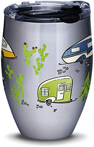 Tervis Retro Camping Stainless Steel Insulated Tumbler with Lid, 12 oz, Silver
