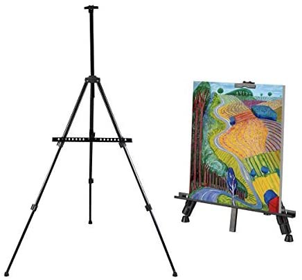 Artist Easel Stand, Thick Metal Tripod Display Easel 21″ to 66″ Adjustable Height with Carrying case for Table-Top/Floor Display, Painting (1-Pack)