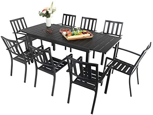 Sophia & William Black Patio Dining Set, 9 Piece Metal Outdoor Expandable Dining Table Set Bistro Furniture Set – 1 Rectangle Expanding Dining Table and 8 Backyard Garden Outdoor Chairs
