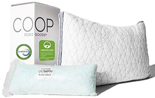 Coop Home Goods – Eden Adjustable Pillow – Hypoallergenic Shredded Memory Foam with Cooling Gel – Lulltra Washable Cover from Bamboo Derived Rayon – CertiPUR-US/GREENGUARD Gold Certified – Queen
