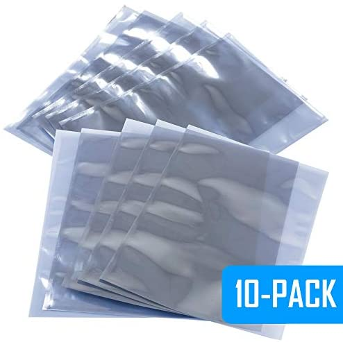 """Kingwin SSD HDD & Other Electronic Devices Metalized Anti Static Bag 10 Pack (6"""" x 8"""" inches / 15 x 20 cm), Protect I/O Cards, Memories, Hard Drives, and More. For Sensitive Electronic Components"""