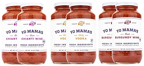 Yo Mama's Gourmet Pasta Sauces – 25 oz Jars – Keto Certified, No Sugar Added, Gluten Free, Preservative Free, Paleo Friendly, and Made with Whole, Non-GMO Tomatoes!