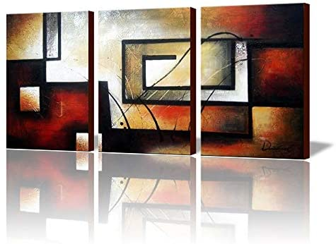 """ARTLAND Modern 100% Hand Painted Abstract Oil Painting on Canvas""""The Maze Of Memory"""" 3-Piece Gallery-Wrapped Framed Wall Art Ready to Hang for Living Room for Wall Decor Home Decoration 36x72inches"""