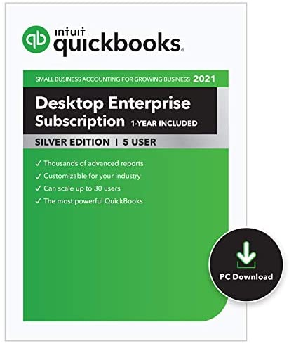 QuickBooks Desktop Enterprise Silver 2021 Accounting Software for Business – 5 User [PC Download code]