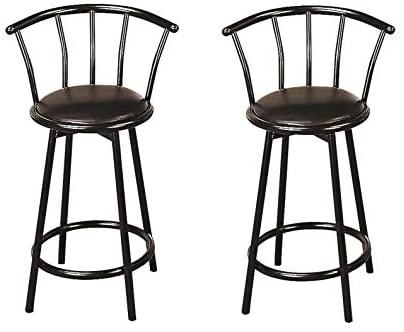 Coaster Home Furnishings CO- Buckner 24″ Metal Counter Stools with Faux Leather Swivel Seat, Set of 2, Black