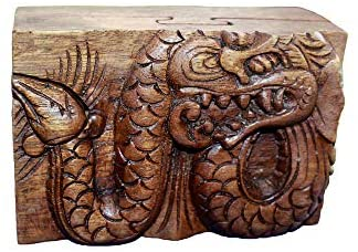 OMA Dragon Puzzle Box Wooden Dragon Decorative Jewelry Trinket Box with Secret Compartment Hand Carved