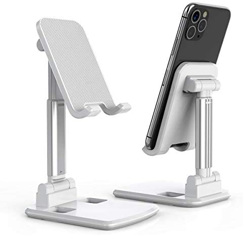 Cell Phone Stand, Licheers Foldable Phone Holder, Angle Height Adjustable Phone Stand for Desk, Compatible with 4″-7″ Devices (White)