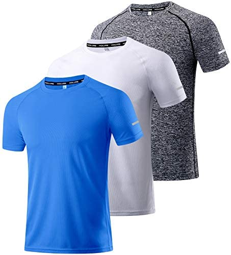 Men's 3 Pack Workout Shirts Dry Fit Moisture Wicking Short-Sleeve Mesh Athletic T-Shirts