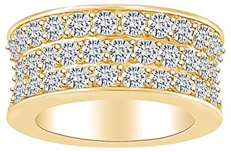 6.92 Carat (Ctw) Round Shape White Natural Diamond Three Row Eternity Wedding Band Ring in 14k Solid Gold