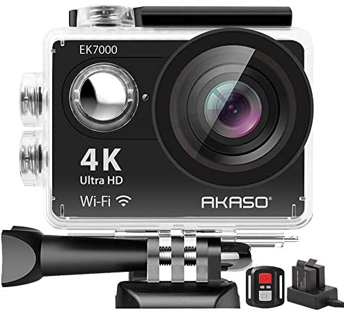AKASO EK7000 4K WiFi Action Camera Ultra HD 30m Underwater Waterproof Camera Remote Control Underwater Camcorder with 2 Batteries and Helmet Accessories Kit (2019 Version)