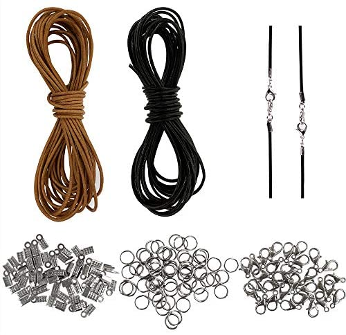 12 Meters of 2mm Genuine Leather Cord for Jewelry Making and 150 Jewelry Findings Thread Leather Necklace Cord String for Craft Macrame Supplies