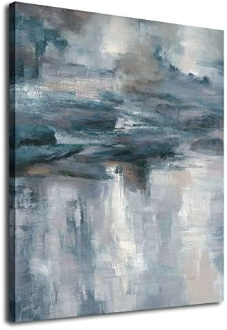 Abstract Wall Art Canvas Painting Pictures Wall Decor Large Canvas Art Abstract Lake Water Modern Artwork Contemporary Wall Decor Indigo Grey Blue for Home Office Decorations Framed Ready to Hang 30″ x 40″