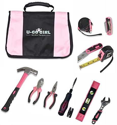 U-GoGirl Work Tools, Expanded Household Pink Tool Kit with a Balanced Fit for Woman's Hands. Just like our original kit, with more tools. As tough as men's tools.for Lady DIYer's and Handywomen.