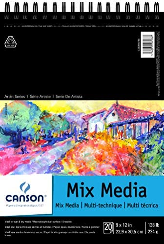 """Canson Artist Series Mix Media Pad, 9"""" x 12"""", Top Wire Bound, 20 Sheets (200006186)"""