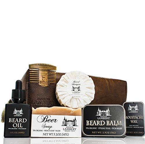 Maison Lambert Ultimate Beard Kit Contains: Organic Beard Balm, Organic Mustache Wax, Organic Beard Oil, Organic Beard Shampoo, Wood Beard Comb and an Organic Body Soap. (Pack in a PU leather bag)