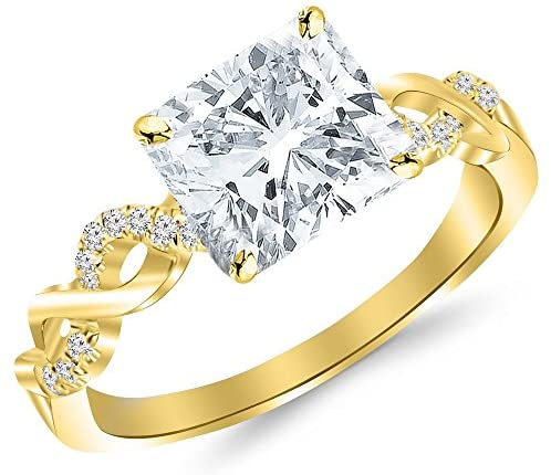 2.13 Ctw 14K White Gold Twisting Infinity Gold and Diamond Split Shank Pave Set GIA Certified Diamond Engagement Ring Cushion Cut (2 Ct G Color VS2 Clarity Center Stone)