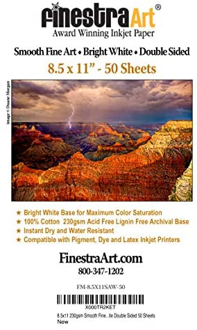 8.5″ X 11″ Smooth Fine Art Archive Bright White Double Sided Inkjet Paper – 50 Sheets