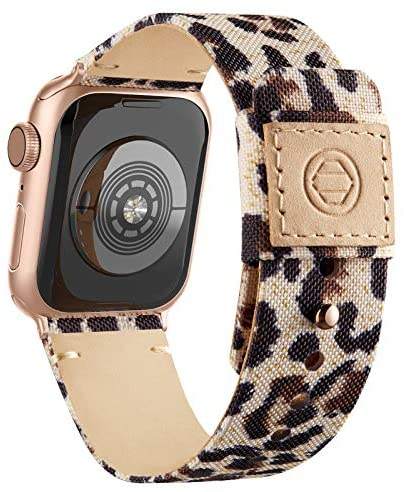 Adepoy Fabric Cloth Bands Compatible with Apple Watch 44mm 42mm 40mm 38mm, Canvas Strap with Soft Genuine Leather Lining and Snap Button for Apple iwatch Series 6/5/4/3/2/1 SE,Leopard 42/44mm