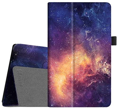 Fintie Folio Case for Amazon Fire HD 8 Tablet (7th/8th Generation, 2017/2018 Release) – Slim Fit Premium Vegan Leather Standing Protective Cover, Galaxy