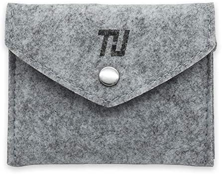 thu Felt Storage Pouch Bag Case for Accessory (Mouse, Cellphone, Cables, SSD, HDD Enclosure, Power Bank and More) (Button)