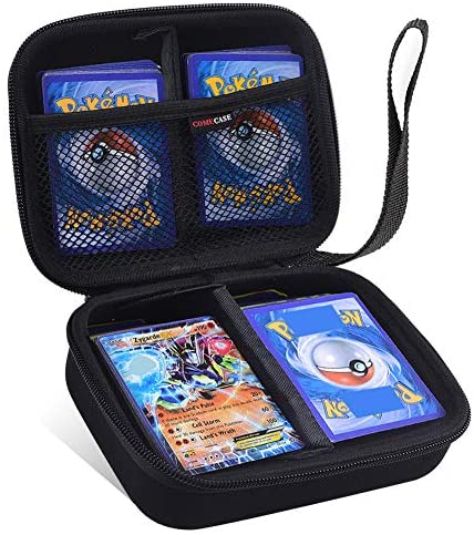 Cards Holder Compatible with PM TCG Cards, Card Game Case Storage Binder Holds Up to 400 Cards. Removable Divider and Hand Strap Offered