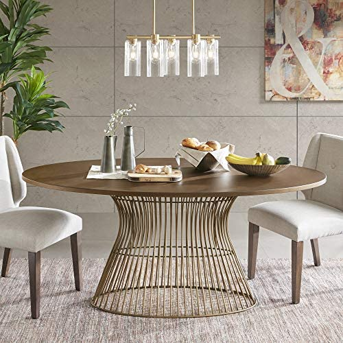 INK+IVY Mercer Dining Oval Solid Wood Tabletop, Metal Wire Frame Base Mid-Century Modern Style Dinner Tables, 70″ Wide, Bronze